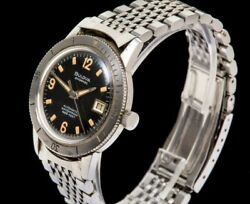 Vintage Bulova Snorkel Skin Diver Menand039s Wrist Watch 1960and039s Automatic