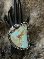 Native American Sterling Silver Royston Turquoise Cuff Bracelet.