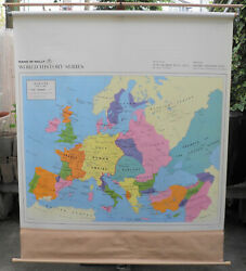 Vintage Rand Mcnally School Roll Down Map Europe 1360 World History
