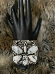 Native American Sterling Silver White Buffalo Turquoise Cuff Bracelet