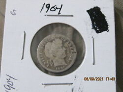 90 Silver 1904 Barber / Liberty Head Dime No International Sales U.s. Only
