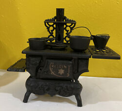 Vintage Cast Iron Stove/oven Miniature Large Model With Accessories Set