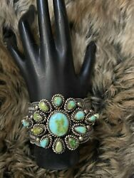 Native American Sterling Silver Sonoran Gold Turquoise Bracelet Signed