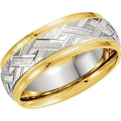 18k Yellow Gold And Platinum 7mm Woven Pattern Comfort-fit Band