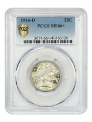 1916-d Barber 25c Pcgs Ms66+ High-end Type Coin - Barber Quarter