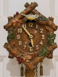 Antique 1934 Lux Animated Bluebird With Six Logs Cuckoo Pendulette Wall Clock