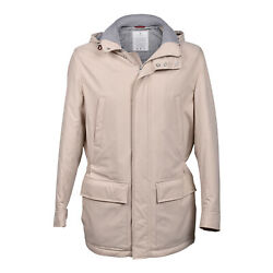 Brunello Cucinelli Menand039s Beige Quilt Lined Down Parka W/removable Hood - M And Xxl