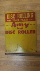 Vintage Amy Portable Disc Roller Metal Sign And039disc Rolling On Your Farmand039 14 X 18
