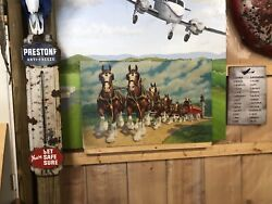 2 Budweiser Advertising Signs Attack Overland Stage 1860 Cardboard Clydesdales