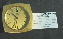 Vintage Omega 8 Day Desk Clock Lacquered Brass Swiss Tec Fully Working Warranty