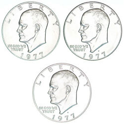 1977 P D S Eisenhower Dollar Year Set Clad Proof And Bu Us 3 Coin Lot