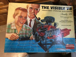 1960's Renwal The Visible V-8 Engine Model For Parts Or Replacements With Manual