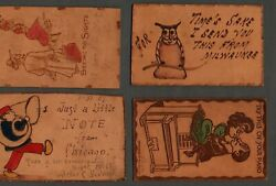 Vintage Early 1900and039s Leather Postcards In Lot Of 8 Wi Il