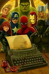 Marvel Comic Book Characters Visionary Writer Stan Lee Tribute Fine Art Canvas