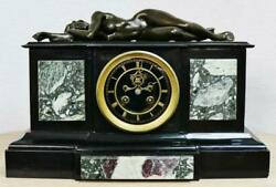 Exceptional Antique 19thc French 8 Day Marble And Bronze Lady Figural Mantle Clock