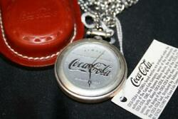 Vintage 1997 Coca Cola Pocket Watch W/ Leather Pouch And Chain Coca Cola Tags