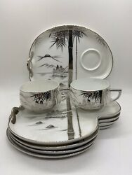 Vintage Hakusan Fine Bone China White And Silver 2 Cups And 5 Snack Plates Mint