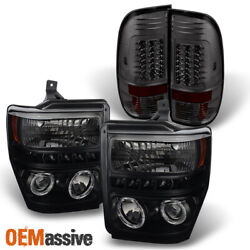 Fits 08-10 F250/f350/f450 Black Smoked Halo Projector Headlights+led Tail Lamps