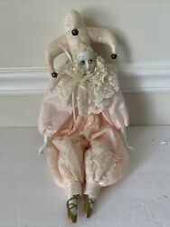 Porcelain Jester Clown Doll 19 Pink/floral Outfit - Seated Position