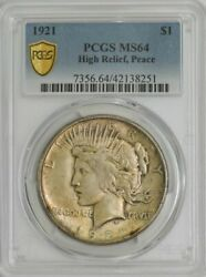1921 Peace Silver Dollar High Relief Ms64 Secure Pcgs 944130-46