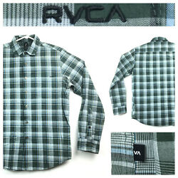 Rvca Mens Small Regular Fit 40 In Chest Blue Green Plaid Pocket L/s Button Up