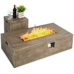48x27in 50000 Btu Propane Fire Pit Table W/ Side Table Tank Storage Cover ...