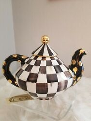 Mackenzie Childs Courtly Check Ceramic 64oz. Teapot Sold Out