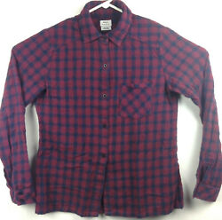 Rvca Mens Medium/ 40in Chest Blue Red Plaid Pocket Lightweight Flannel Button Up