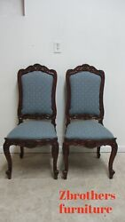 Pair Bau French Country Dining Room Side Chairs Regency Custom Carved B