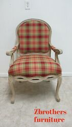 Bassett Furniture French Country Living Room Arm Chair Fireside Plaid A
