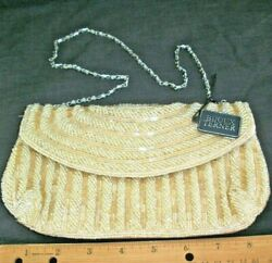 Evening Bag Ivory Beaded Clutch Wedding Special Occasion Formal Elegant Chic New $19.79