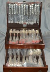 Reed And Barton Tara Pattern Sterling Silver Flatware Set For 12 96 Piece W/ Case