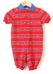 Vintage Baby Romper Red Short Sleeve Button Anchor Boat Nautical Knit 12 Months