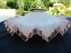 Antique French Victorian Pink Ruffle Dress Rim Milk Glass Lamp Shade Complete