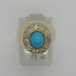 Yellow Gold Ring 18kt Turquoise Diamonds Classic 1940 Vintage Pinkie