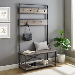 Grey Wash Metal And Wood Hall Tree 72 In. With Seven Hangers And A Bottom Shelf