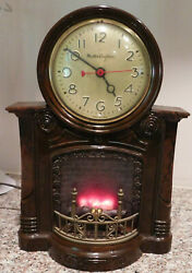 Mastercrafters Mid Century Fireplace Motion Electric Novelty Clock Rewired