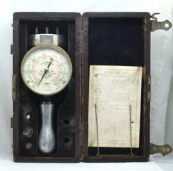 Vintage Schaeffer And Budenberg Ny Hand Tachometer In Wood Box W/ Tips And Instr