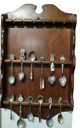 Vintage Souvenir Spoon Collection Wooden Wall Display Rack With 11 Spoons 1 Fork