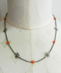 Vintage Sterling Silver Filigree And Natural Salmon Coral Beads Necklace