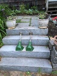 Two Vintage Green Porcelain Gas Station Pump Island Lights Very Good Condition