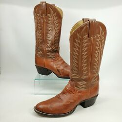 Tony Lama Cowboy Boots 8.5 D Mens Exotic Leather Western Rodeo Boots Made In Usa