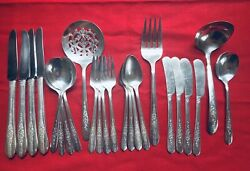 24pc Lot Oneida Nobility Royal Rose Silverplate Flatware Spoons Forks Serving