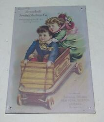 Household Sewing Machine Company Victorian Girl And Boy Tin Metal Sign 6x9