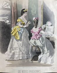 Antique Fashion Print Parisiennes Hand Coloured Engraving Rare Early 1800andrsquos