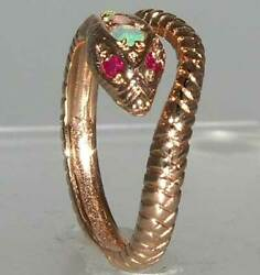 14ct Rose Gold Natural Opal Ruby Womens Band Ring - Sizes J To Z