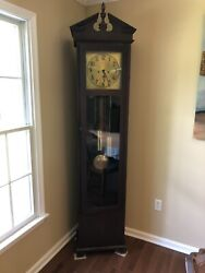 Antique Grandfather Clock - Colonial Mfg. Empire Style - Andlsquo20andrsquos Mahogany German
