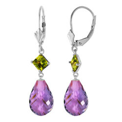 14k White Gold Dangle Earrings With Amethysts And Peridots