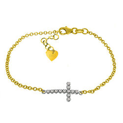 14k Solid Yellow Gold Cross Design 8.00-8.50 Inch Bracelet With 0.18 Carat