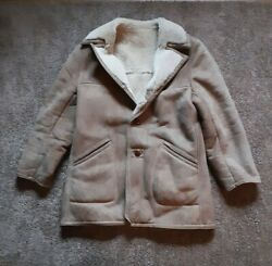 Genuine Shearling Rancher Texas Tanning Suede Leather Coat Jacket Size 42